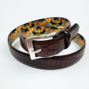 English Laundry Accessories - English Laundry Croc Embossed Leather Belt Brown
